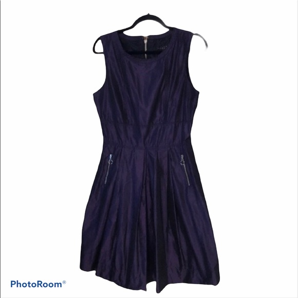 Pink Tartan | Violet Taffeta dress with pockets